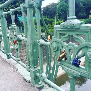 Love locks on the bridge in Stadtpark.