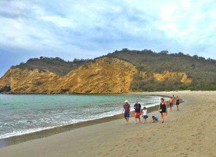 Exploring the beach at Parque Nacional Machalilla.
