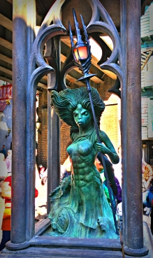 The mermaid statue where spells are cast, and lights turn on.