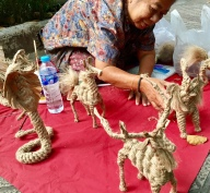 A woman selling her handmade animals - I brought home a reindeer for Christmas.
